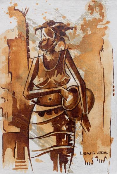 'Village Model' - Original Acrylic Painting of Young African Woman