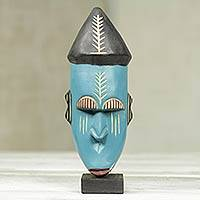 African wood mask, 'Asafo' - Handmade Wood African Warrior Mask Sculpture