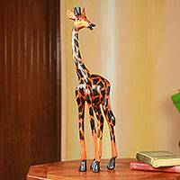 Wood sculpture, 'Proud Giraffe' - Fair Trade African Carved Wood Standing Giraffe Sculpture