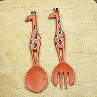 Wood wall adornments, 'West African Giraffe' (pair) - Giraffe Motif Wooden Spoon and Fork Wall Decor (pair)