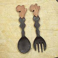 Wood wall adornments, 'Africa' (pair) - Fair Trade Decorative Wood Fork and Spoon Wall Art (Pair)