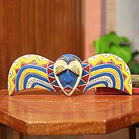 African wood mask, 'Bobo Butterfly' - Unique Colorful African Tribal Mask Handmade in Ghana