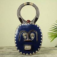 African wood mask, Baule Moon Blessing - Handmade Blue Wood Baule Tribe Decorative Wall Mask