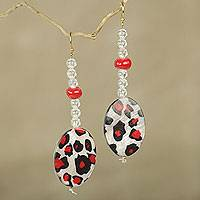 Beaded dangle earrings, 'Leopard Blessing' - Red, White and Black Animal Print Beaded Earrings
