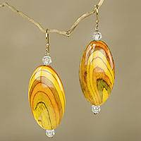 Featured review for Beaded dangle earrings, Odopa in Yellow
