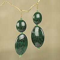Beaded dangle earrings, 'Good Thing' - Green Animal Print Bead Earrings Hand Made in Ghana