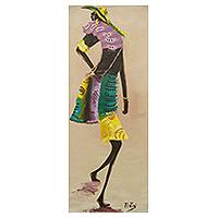 'Fashion' - Trendy African Woman Painting Signed Portrait