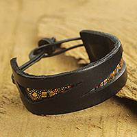 Men's leather and cotton bracelet, 'Gold Dust Alchemy' - Handmade Men's African Bracelet Made of Leather and Cotton