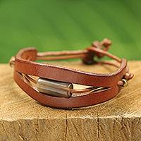 Men's leather and horn bracelet, 'Hidden Treasure in Tan' - Bull Horn and Brown Leather Bracelet for Men from Africa