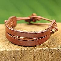 Men's leather bracelet, 'Perseverance in Tan' - Dark Tan Leather Bracelet with Brass Accents for Men
