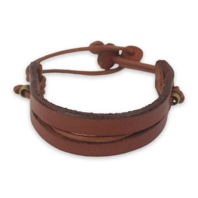 Dark Tan Leather Bracelet with Brass Accents for Men