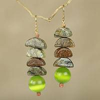 Beaded dangle earrings, 'Nndwoma Kese' - Hand Beaded Earrings with Soapstone and Cat's Eye