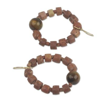 Tiger's eye beaded earrings, 'Oboafo Yei' - Earrings from Africa Hand Made with Tiger's Eye and Bauxite