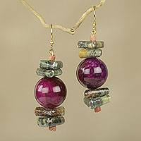 Soapstone and agate beaded earrings, 'Oboafo Ye Na' - Purple Agate and Soapstone Beaded Earrings from Ghana