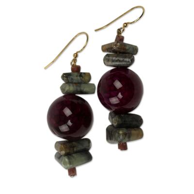 Purple Agate and Soapstone Beaded Earrings from Ghana