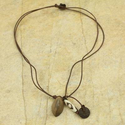 Leather and soapstone pendant necklace, 'Safari' - African Soapstone on Leather Necklace Crafted by Hand