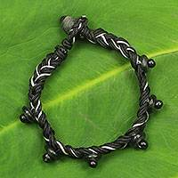 Braided cord bracelet, 'Lagos Braid' - African Artisan Crafted Braided Cord Bracelet with Beads