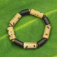 Bamboo and wood stretch bracelet,