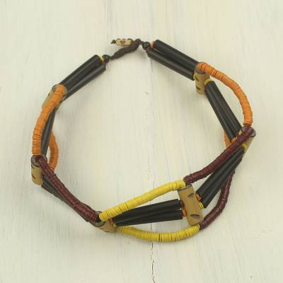 Bamboo and wood choker, 'Lagos Loops' - Handcrafted Women's Choker Necklace from Africa