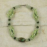 Agate and ceramic beaded necklace, 'Life is Great' - African Green Agate Handcrafted  Necklace with Ceramic