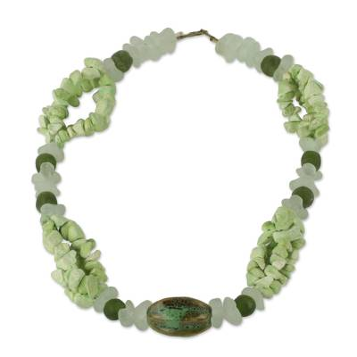 African Green Agate Handcrafted Necklace with Ceramic