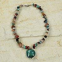 Agate beaded necklace, Green Aseye