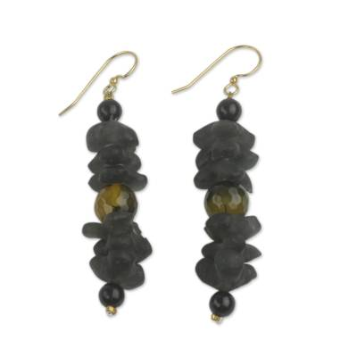 Artisan Crafted Amber Earrings with Recycled Glass Beads