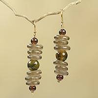 Amber beaded earrings, 'Dzifa' - Amber African Earrings Crafted by Hand with Recycled Beads
