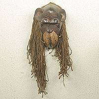 African wood and jute mask, 'Baule Gbekre I' - Handmade African Wood and Jute Monkey Mask
