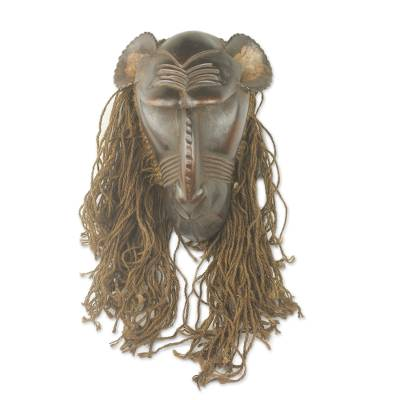 African wood and jute mask, 'Baule Gbekre II' - Unique Hand Carved Wood and Jute African Monkey Mask