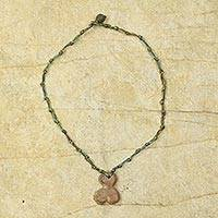 Soapstone pendant necklace, 'Blossom' - Hand Knotted Necklace with Soapstone Pendant