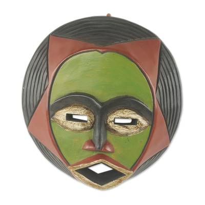 African wood mask, 'Kekeli' - Original Hand Carved African Wood Mask with Star Motif