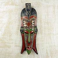 African wood mask, 'Efia Nyonu' - Colorful Wood and Embossed Metal Wall Mask from Ghana