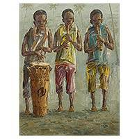'Early Performance' - Original Signed Acrylic Portrait from Ghana