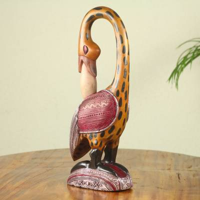 African wood carving, 'Spotted Sankofa' - Colorful African Wood Bird Sculpture Hand Carved in Ghana