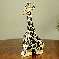 Wood sculpture, 'Giraffe at Rest I' - Hand Carved and Painted Wood Giraffe Sculpture from Ghana