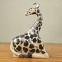 Wood sculpture, 'Giraffe at Rest II' - African Artisan Crafted Fair Trade Wood Giraffe Sculpture