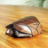 Ebony wood sculpture, 'Tortoise' - African Handmade Small Ebony Wood Tortoise Sculpture