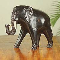 Wood sculpture, 'Osuno II' - Wood Elephant Sculpture Handmade by Ghanaian Artisan