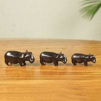 Wood figurines, 'Hippo Trio' (set of 3) - Fair Trade Carved Wood Hippos from Africa (Set of 3)