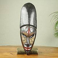African wood mask, 'Queen' - Original African Decorative Mask with Brass Accents