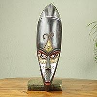 African wood mask, 'Hausa Monkey Face' - Handmade African Wood Mask with Embossed Metal Accents