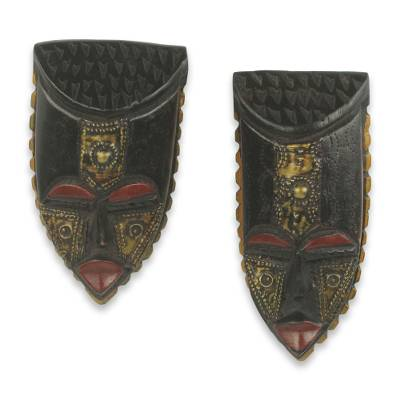 African wood mini masks, 'Passport' (pair) - Brass Accented Wood Masks Handmade in Africa (Pair)