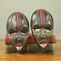 African wood mini-masks, 'Ntaafo' (pair) - Ghanaian Handmade Small Decorative Wood Masks (Pair)