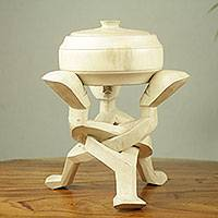 Decorative wood vessel and pedestal, 'Aware Kabon' - African Decorative Off White Wood Bowl and pedestal