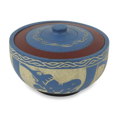 Elephant Themed Handmade Lidded Blue Decorative Wood Bowl