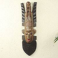 African wood mask, 'Thinking Man' - Long African Wood Mask Hand-Carved by Ghanaian Artisan