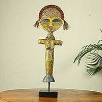 African fertility doll sculpture, 'Ashanti Hope' - Ashanti Style Wood Fertility Doll Sculpture with Beads