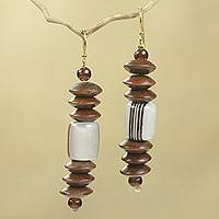 Wood beaded earrings, 'Kafui' - Fair Trade Beaded African Earrings Crafted by Hand