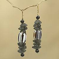 Beaded earrings, 'Xose in Black and White' - African Earrings Crafted by Hand with Recycled Beads